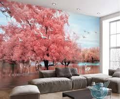 online get cheap wallpaper murals animals aliexpress com pink extra large wall murals big tree animal swan lake 3d wallpaper murals 3d landscape tv