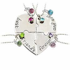 puzzle heart pendant necklace images Tisda best friends forever and ever set of four necklaces with jpg