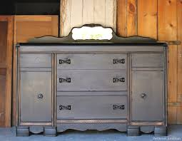 black furniture project with lightly distressed details