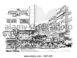 pencil sketch of city buildings stock photo royalty free image