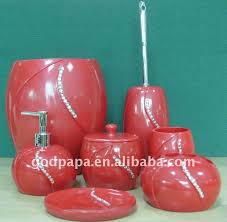 Red Bathroom Accessories Sets by Favorable Polyresin Red Bathroom Accessories Set With Diamonds