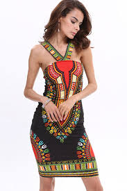 tribal dress black tribal print v neck sleeveless bodycon dress casual