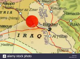 map of bagdad up of a pushpin on a map of baghdad iraq stock photo