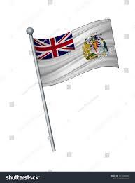 Antarctic Flag British Antarctic Territory Flag On Flagpole Stock Vector