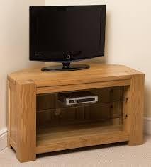 kuba solid oak wood glass corner tv hi fi cabinet stand unit