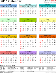 printable calendar year on one page 2015 calendar 16 free printable word calendar templates