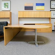 U Shaped Office Desk Used Right D Top U Shaped Office Desk With Large Hutch Maple