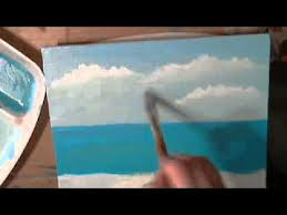 How To Paint A Glass Vase With Acrylic Paint How To Paint A Seascape With Acrylics Part 1 Youtube Video Art