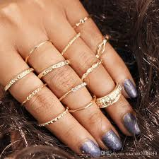 gold midi rings sets knuckle band rings for women joint