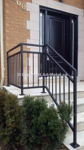 metal landing banister and railing exterior railings for stairs home designs ideas online