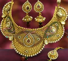 bridal jewelry necklace set images Nl3492 antique broad handmade choker grand necklace wedding indian JPG
