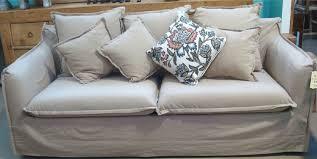 hamptons linen upholstered 3 seat sofa u2013 allissias attic u0026 vintage