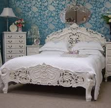 versailles french rococo antique white 5ft kingsize bed shabby