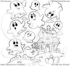 haunted mansion clipart clipart of black and white halloween ghosts flying around a