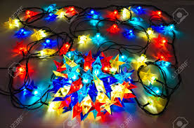garland of colored lights for christmas trees spread out to