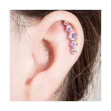 where to get cartilage earrings freshtrends rainbow cz crescent 5 gem cartilage piercing earring