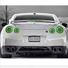 white nissan gt r with custom green lights never seen green