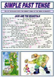 esl worksheets for beginners simple past tense jack and the