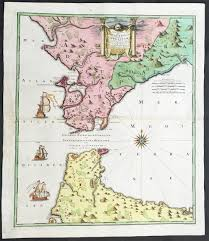Large Vintage World Map by 1730 Homann Large Antique Map Straits Of Gibraltar Cadiz Morocco