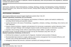 sample resume for medical laboratory technician medical equipment