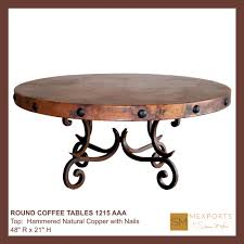 020 round coffee table iron base chocolate finish copper natural