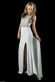 wedding dress hire perth ll2345 beautifully beaded slim fit gown with front slit mon