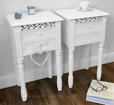 Pretty Tables by Set Of Two Pretty White Bedside Table With Drawers Amazon Co Uk