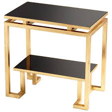 Iron Side Table Modern Gold Iron Side Table With Black Glass Scenario Home