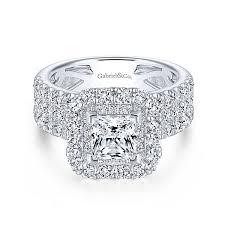 princess cut engagement ring adley 18k white gold princess cut halo engagement ring