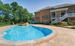 Pool Patios And Porches Rear View Home Patio With Pool Tub Outdoor Kitchen Screen