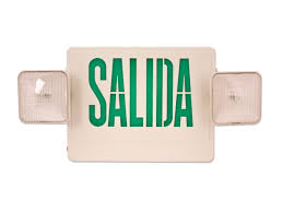 exit emergency light combo green letters hl02143gw esp spanish exit sign emergency light combo