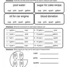 Gallon Worksheet Cup Pint Quart Gallon Worksheet