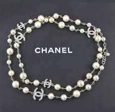 pearls necklace ebay images Authentic chanel pearl white silver 5 crystal c station cc logos jpg