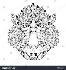 zentangle monkey head doodle hand drawn stock vector 350111105