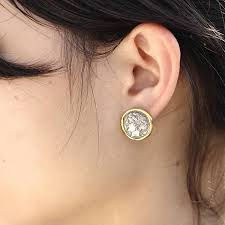 large stud earrings ancient coin earring coin stud earring two tone studs silver