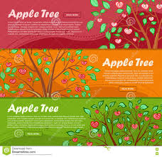 set of banners with apple generic tree inside glass sphere stock
