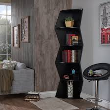 home decoration tall black zigzag corner bookshelves next by