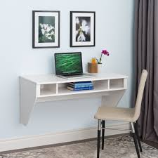 42 modern floating wall mounted desk in white