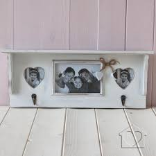 white shabby chic shelf picture frame with hooks discontinued