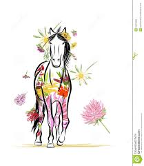 horse sketch with floral decoration for your royalty free stock