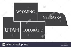 Map Of Colorado And Utah by Utah Wyoming Colorado Nebraska Map Labelled Black