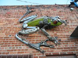 giant handmade metal frog made from unwanted spare parts