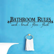 bathroom rules quote home wall sticker