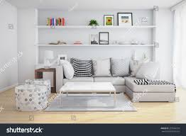 3d rendering interior living room shelves stock illustration