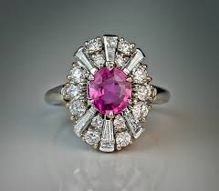 pink sapphire rings images Pink sapphire diamond platinum engagement ring antique jewelry jpg