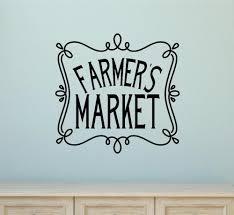 farmers market vinyl decal wall sticker words letters vintage farm