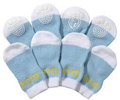 amazon com pet life dog socks w rubberized soles blue white