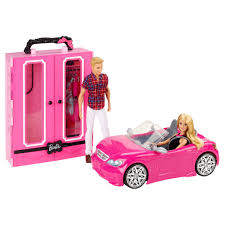 real barbie cars barbie with ken closet u0026 convertible and sister 2 packs