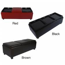 furniture chocolate with tufted leather storage ottoman for