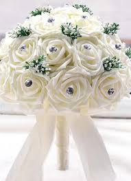 satin roses white wedding decoration supplies ivory satin luxury